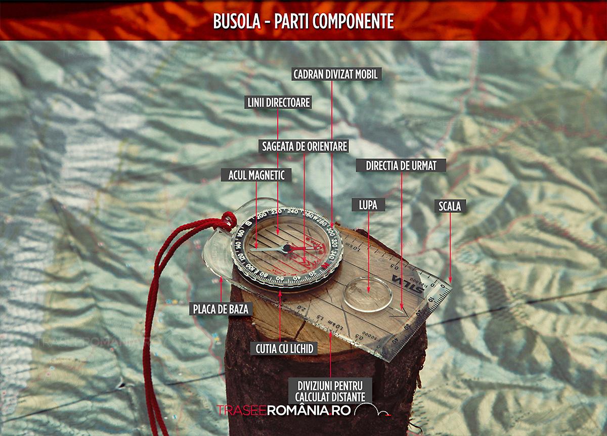 partile componente ale unei busole, orientarea cu busola